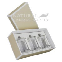 Danube Small Knob Lid Candle Box - Trio Pack - (Beige)